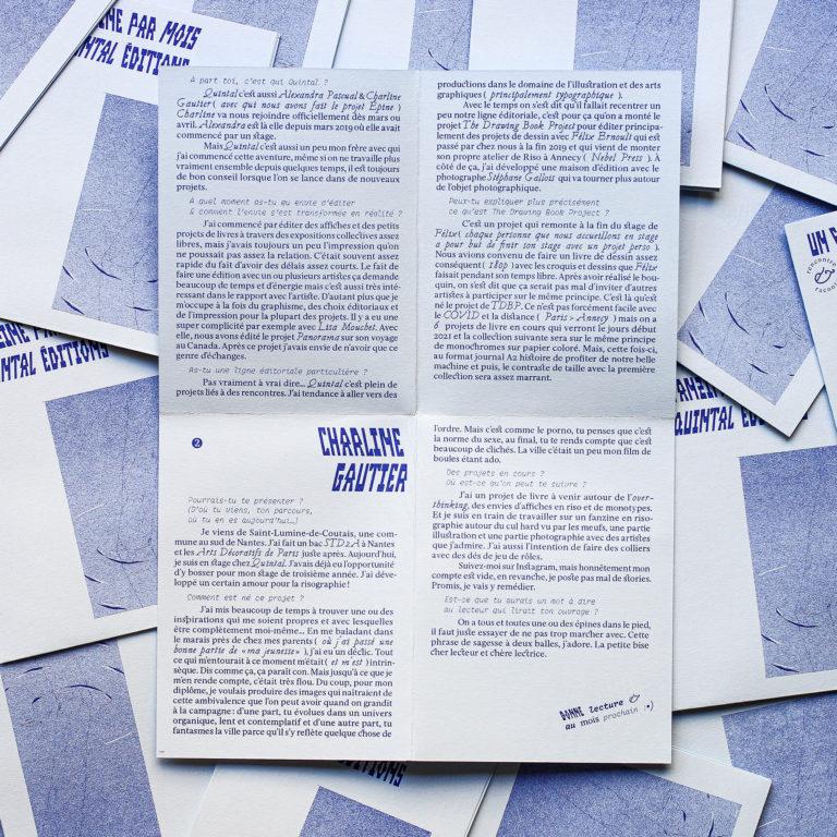 L'Épine Charline Gautier x Quintal Éditions x Un Fanzine par Mois